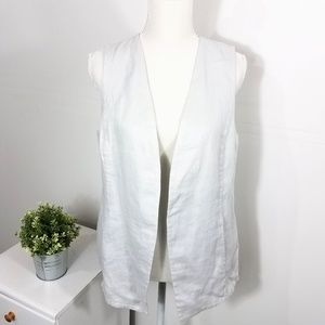 J. Jill Silver Gray Linen Open Front Vest Medium